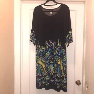 Intriguing Threads 18W artsy black dress